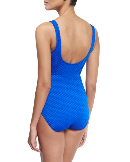 Diamond In The Rough V-Neck One-Piece Swimsuit, Royal Blue
