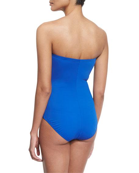 Lattice-Gathered Bandeau Swimsuit, Sapphire