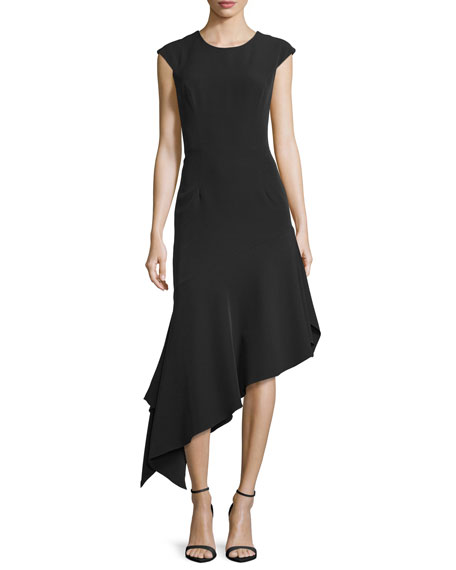 Milly Cap-Sleeve Asymmetric Midi Dress, Black