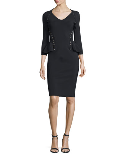 3/4-Sleeve Peplum Grommet Dress, Nero