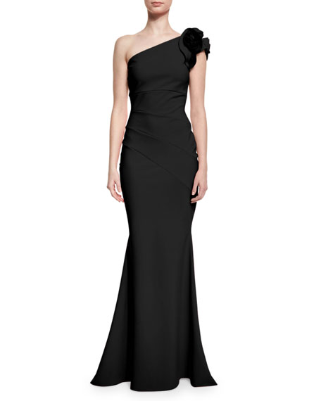One-Shoulder Ruched Ponte Mermaid Gown