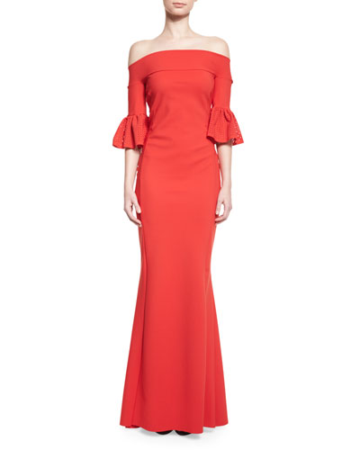 Off-the-Shoulder Ponte Gown, Passion