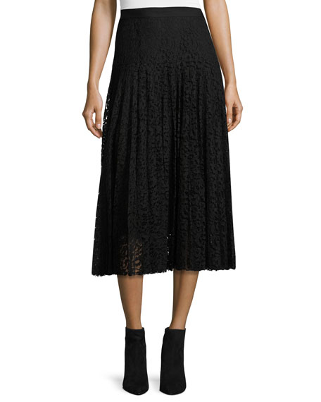 Rebecca Taylor Pleated Lace Midi Skirt, Black