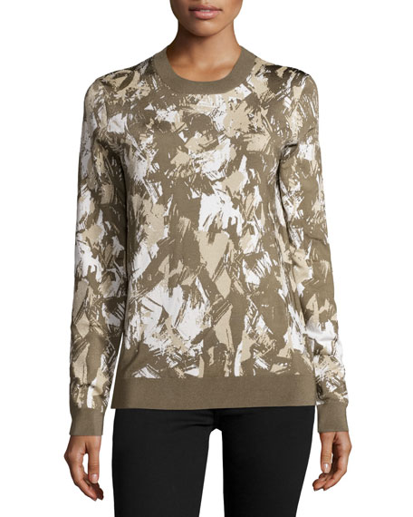 Long-Sleeve Printed Pullover, Army/Beige/Chalk