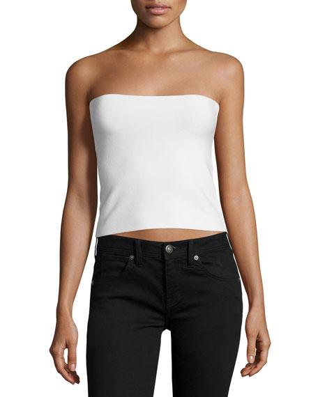 Strapless Sweater Top W/Back Slash, Linen White