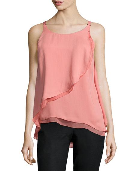 Sleeveless Flounce-Draped Top, Blush