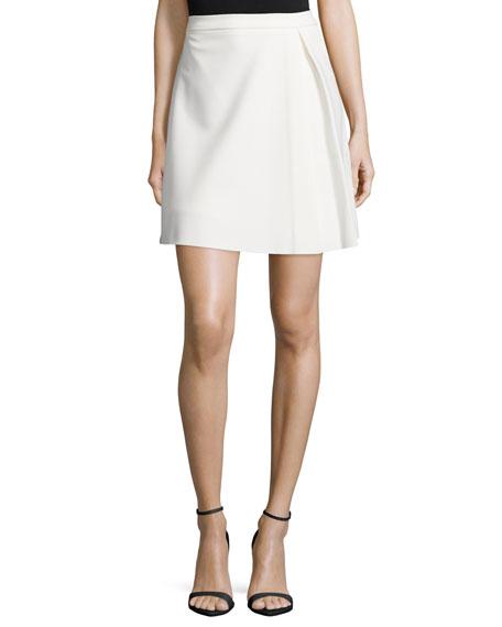 Pleated Structured Skirt, Bone