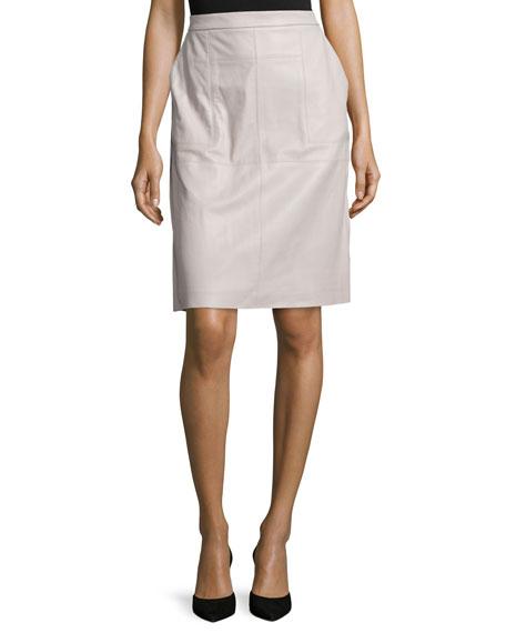 Leather Straight Skirt, Light Stone