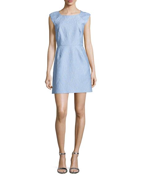 Cap-Sleeve Structured Dress, Lavender