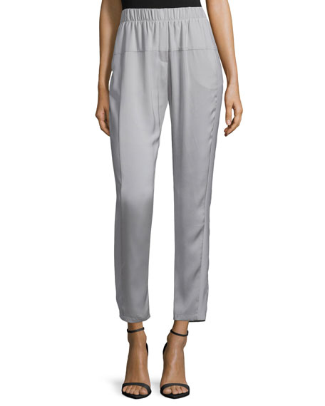 Tapered-Leg Cropped Pants, Mist