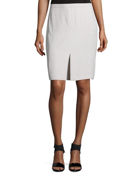 Mid-Rise Front-Slit Pencil Skirt, Dark Bone