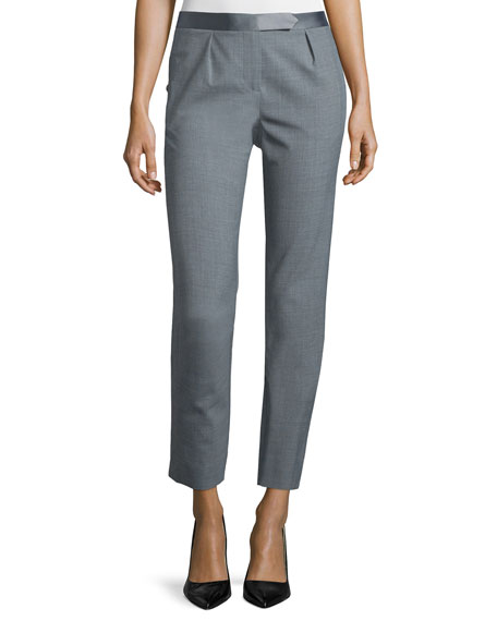 Slim-Fit Cropped Pants, Heather Gray