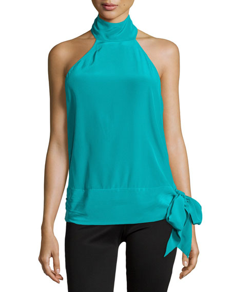 Halter-Neck Open-Back Blouse, Turquoise