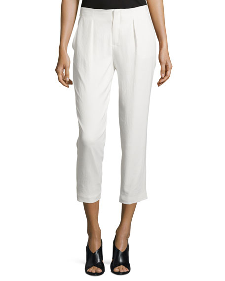 Pleated-Front Cropped Pants, Swan