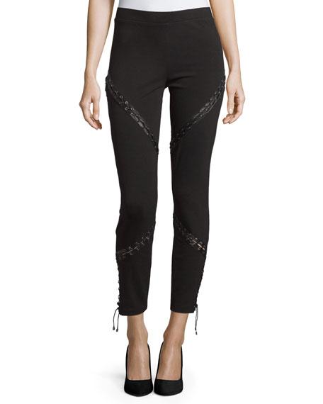 Skinny Ankle Pants W/Lacing, Black