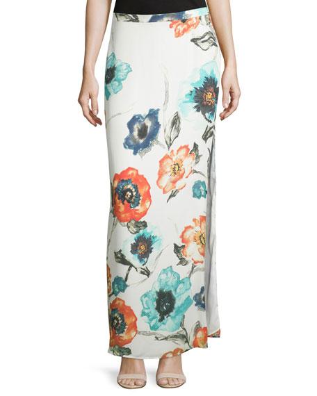 Floral-Print Column Maxi Skirt, Swan/Multi