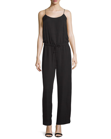 Sleeveless Tie-Back Jumpsuit, Black