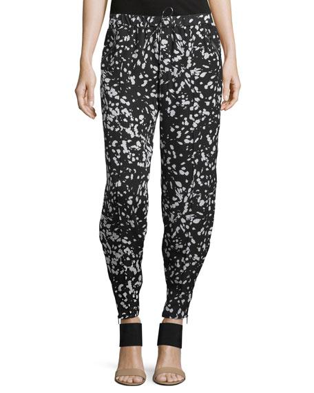 Drawstring-Waist Tapered Pants, Black/Swan