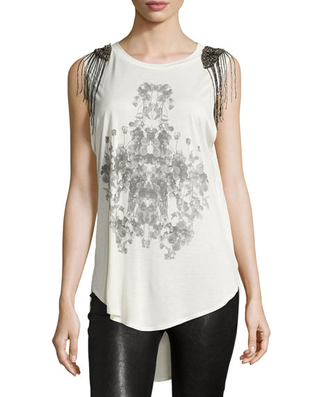 Embellished-Shoulder Graphic Tank, Swan/Black