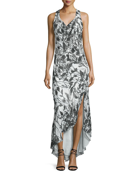 Cowl-Neck Racerback Maxi Dress, Swan/Black