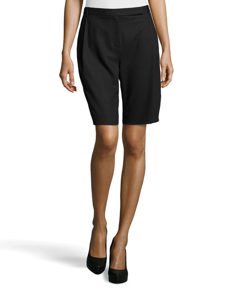 Pleated Wool-Knit Bermuda Shorts, Black