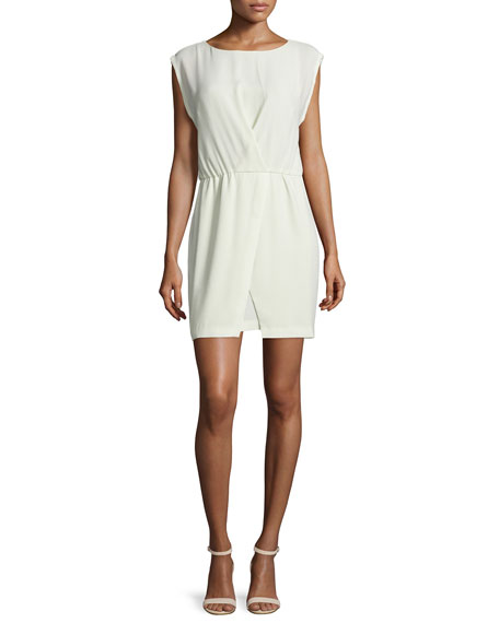 Cap-Sleeve Faux-Wrap Dress, Pistachio