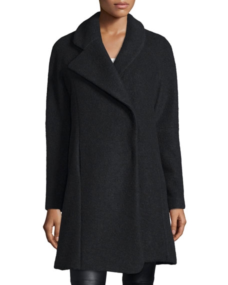 Morgane Asymmetric-Collar Coat, Black