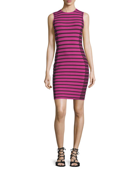 Sleeveless Two-Tone Striped Dress, Beet/Multi