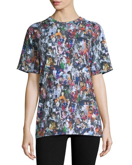 Short-Sleeve Girl Collage-Print T-Shirt, Black/Multi
