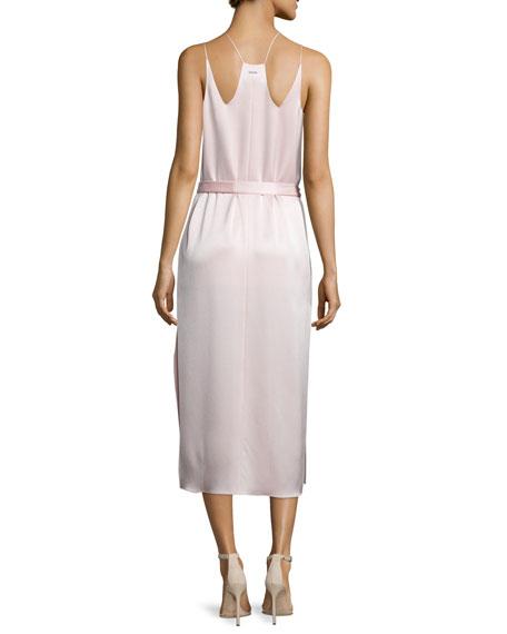 Belted Satin Camisole Slip Dress, Light Pink