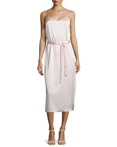 Halston Heritage Belted Satin Camisole Slip Dress, Light