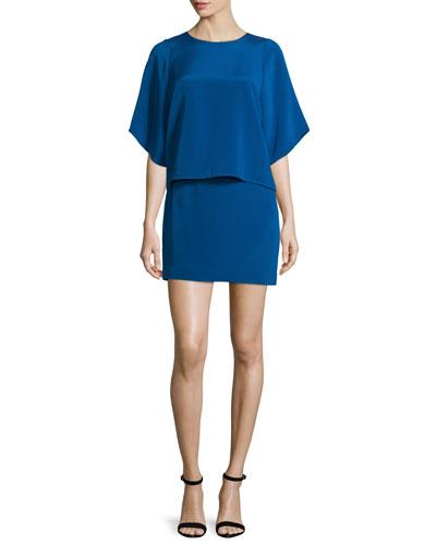 Half-Sleeve Stretch-Faille Popover Dress, Ultramarine