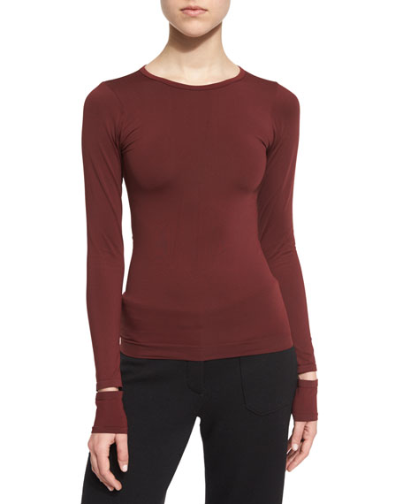 Fitted Slit-Cuff Stretch Jersey Tee, Pomegranate
