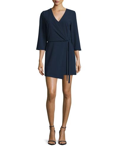 3/4-Sleeve V-Neck Mini Dress, Navy
