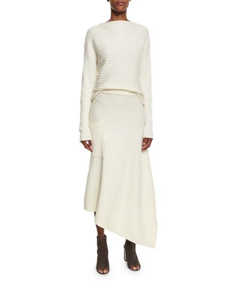 Ribbed Merino Asymmetric Wrap Skirt