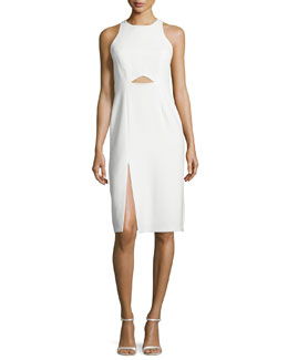 Sleeveless High-Neck Fitted Cutout Dress, Chalk