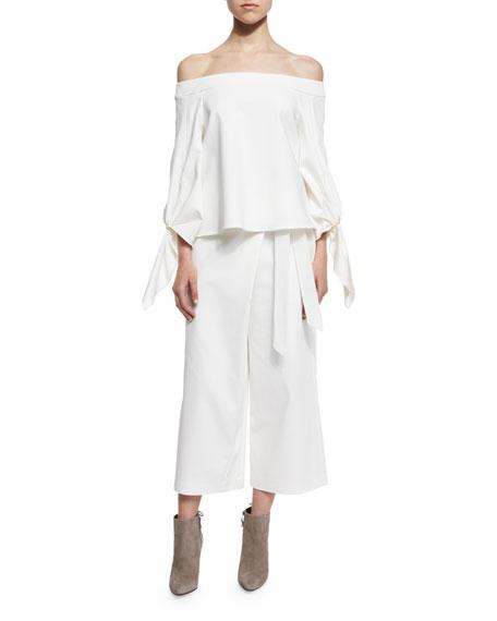 Agathe Stretch Poplin Wrap Culottes, Ivory