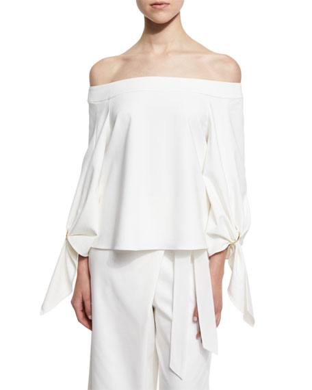 Agathe Off-the-Shoulder Stretch Poplin Top, Ivory