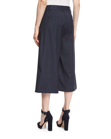 Delmont Pinstripe Wool-Blend Culottes, Navy