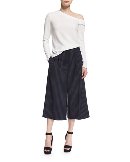 Delmont Pinstripe Wool-Blend Culottes, Navy