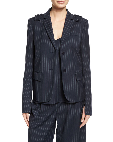Delmont Pinstripe Two-Button Blazer