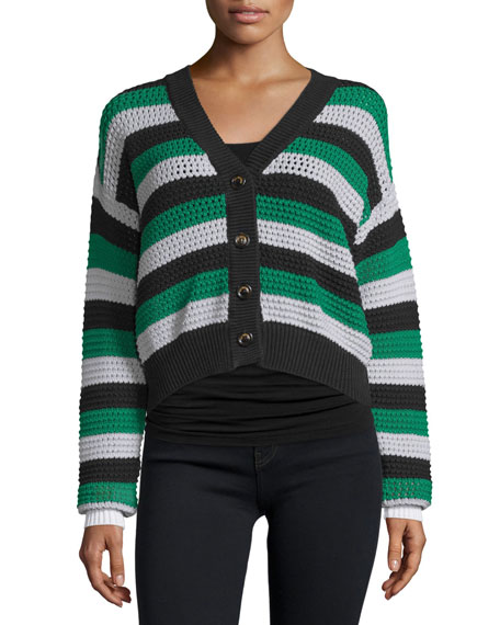 Button-Front Cropped Cardigan, Green/White