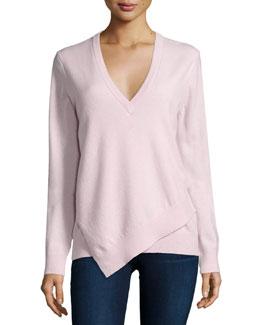Asymmetric-Hem Cashmere Sweater, Blush Melange