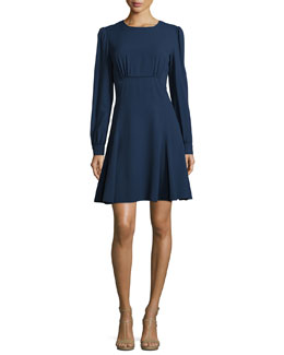 Long-Sleeve Round-Neck Empire Dress, Indigo
