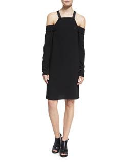Crepe Cold-Shoulder Shift Dress, Black