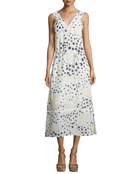 Sleeveless Floral-&-Dot-Print Midi Dress, White/Multi