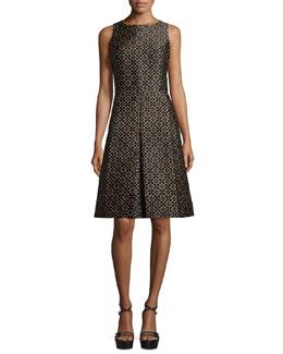 Sleeveless Floral-Print A-Line Dress, Suntan