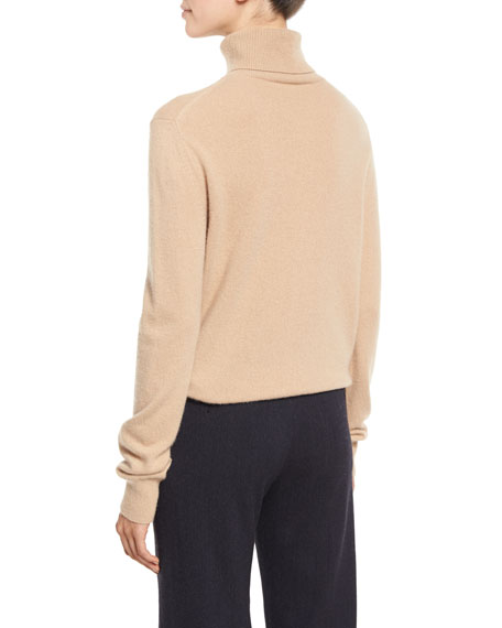 Cropped Cashmere Turtleneck Sweater, Camel