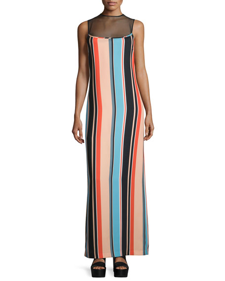 Sleeveless Sheer-Yoke Striped Maxi Dress, Coral/Multi