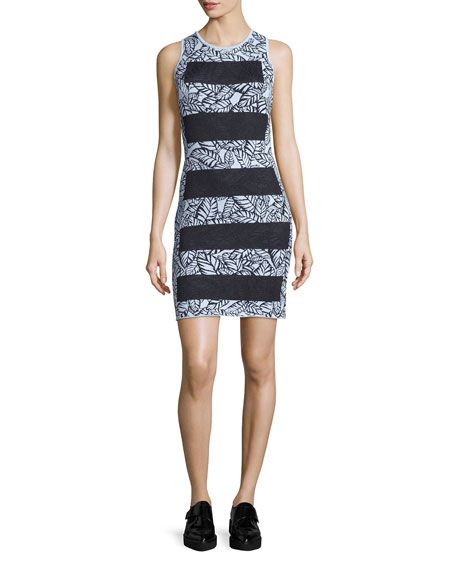 Sleeveless Wide-Stripe Sheath Dress, Mist Blue/Multi
